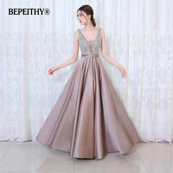 BEPEITHY V-Neck Beads Bodice Open Back A Line Long Evening Dress Party Elegant Vestido De Festa Fast Shipping Prom Gowns - DISCOUNT ITEM  22% OFF All Category