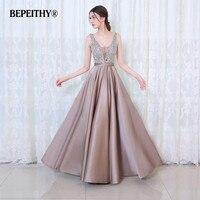 Charming V Neck Crystal Bodice Open Back A Line Long Evening Dress Party Elegant Vestido De