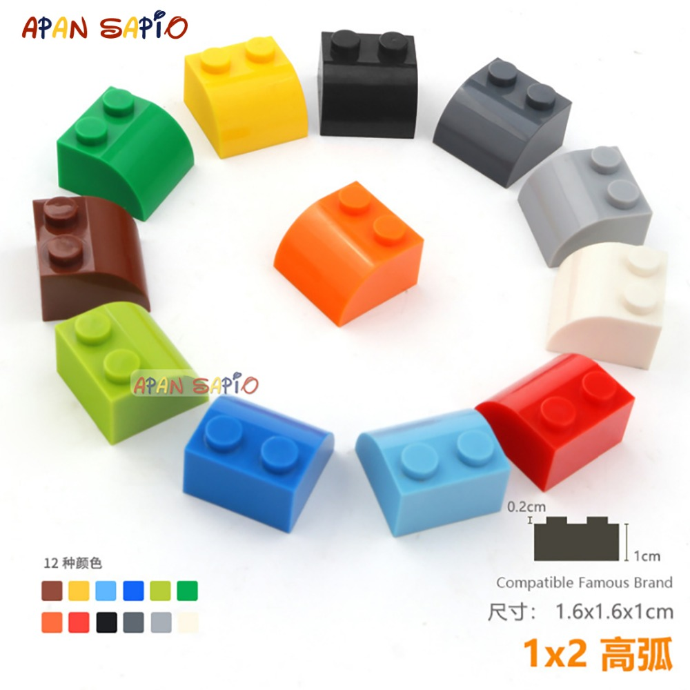 18pcs/lot DIY Blocks Building Bricks Radian 1X2 Educational Assemblage Construction Toys For Children Size Compatible With Lego