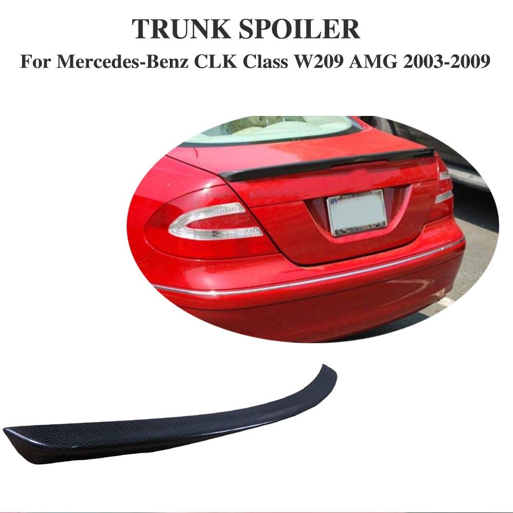 Carbon Fiber Rear Trunk Wing lip Spoiler For Mercedes-Benz CLK Class W209 AMG 2003-2009 Car Styling mercedes s class w221 2005 2013 amg style carbon fiber cf spoiler rear trunk wings tail lip for benz s320 s400 s420 s450 s600