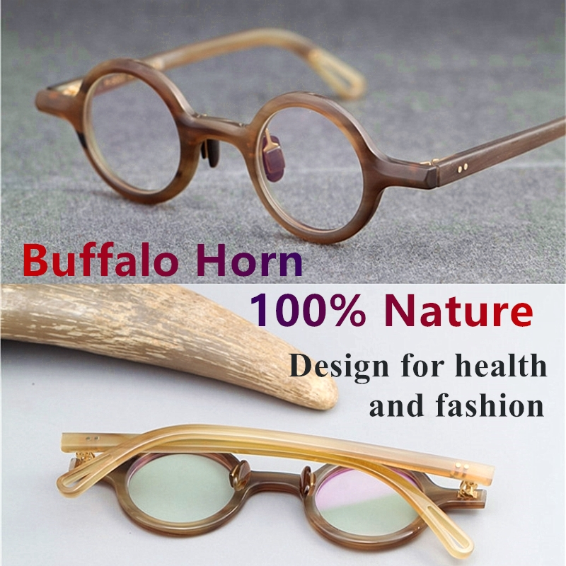 Vintage Nature Buffalo Horn eyeglass frame Unique design classical small round eyewear women men original box