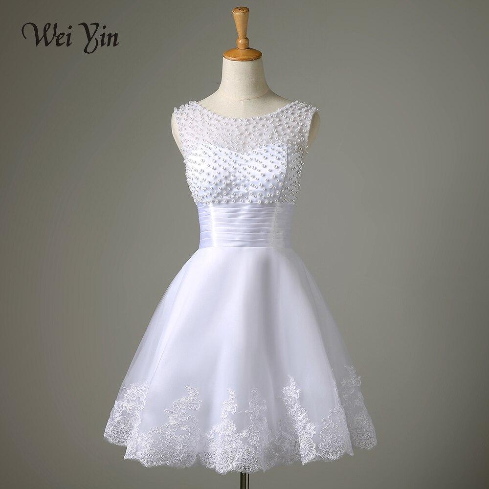 22cdb5a0fe37 WeiYin Robe De Mariage 2019 White/Ivory Short Wedding Dress Brides Sexy  Lace Bridal Wedding