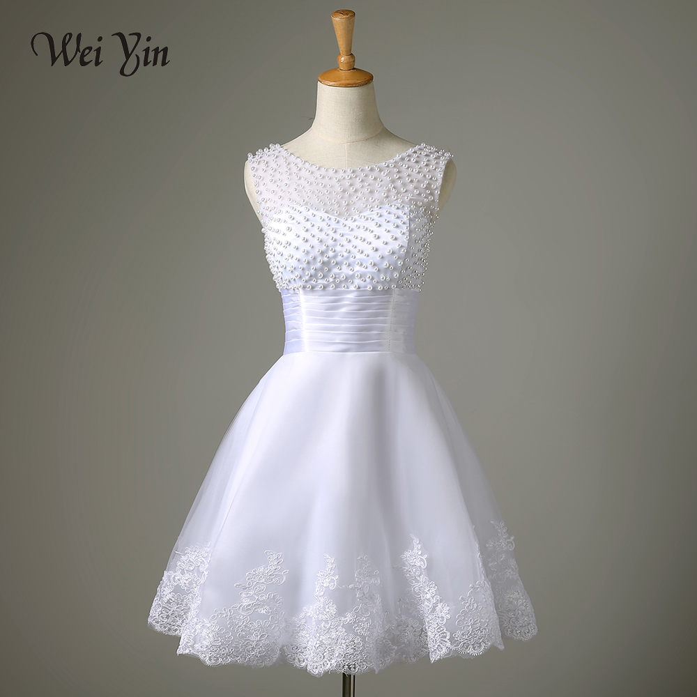WeiYin Robe De Mariage 2018 White/Ivory Short Wedding Dress Brides Sexy Lace Bridal Wedding Gown Vestido De Noiva Real Sample