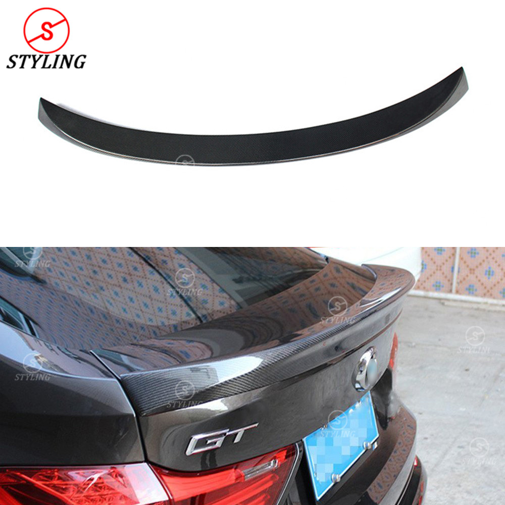 цена на For BMW F07 Carbon Spoiler AC Style 5 series GT Gran Turismo F07 Carbon Fiber rear spoiler Rear trunk wing styling Lci 2014 - UP