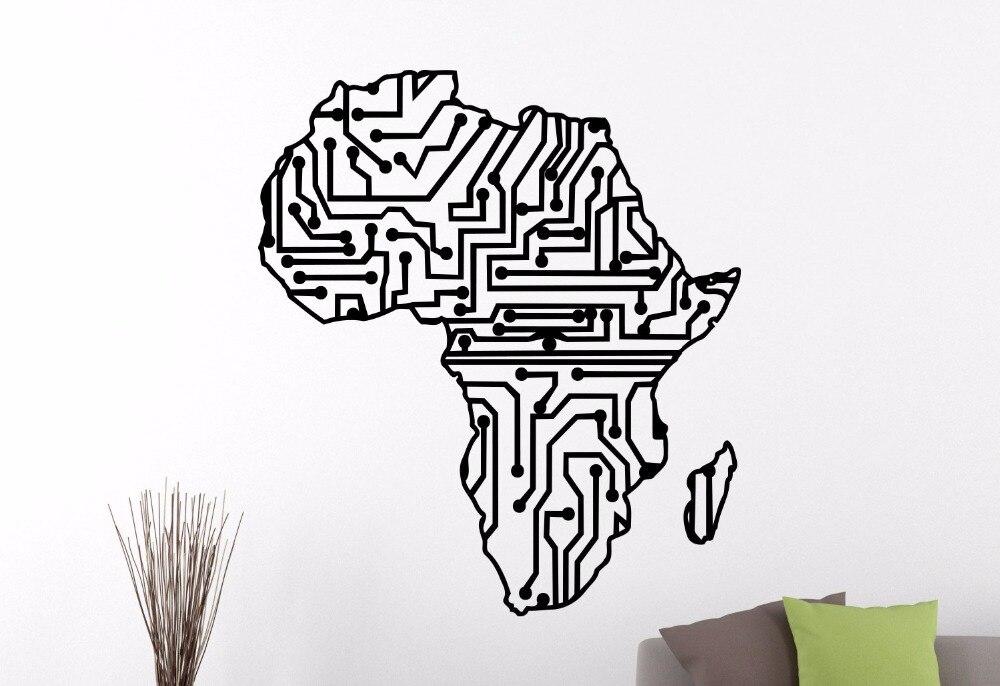 Afrique Carte FORME AFRICAINE Silhouette Vinyle Autocollant Fenêtre Autocollant TOUTE COLOR