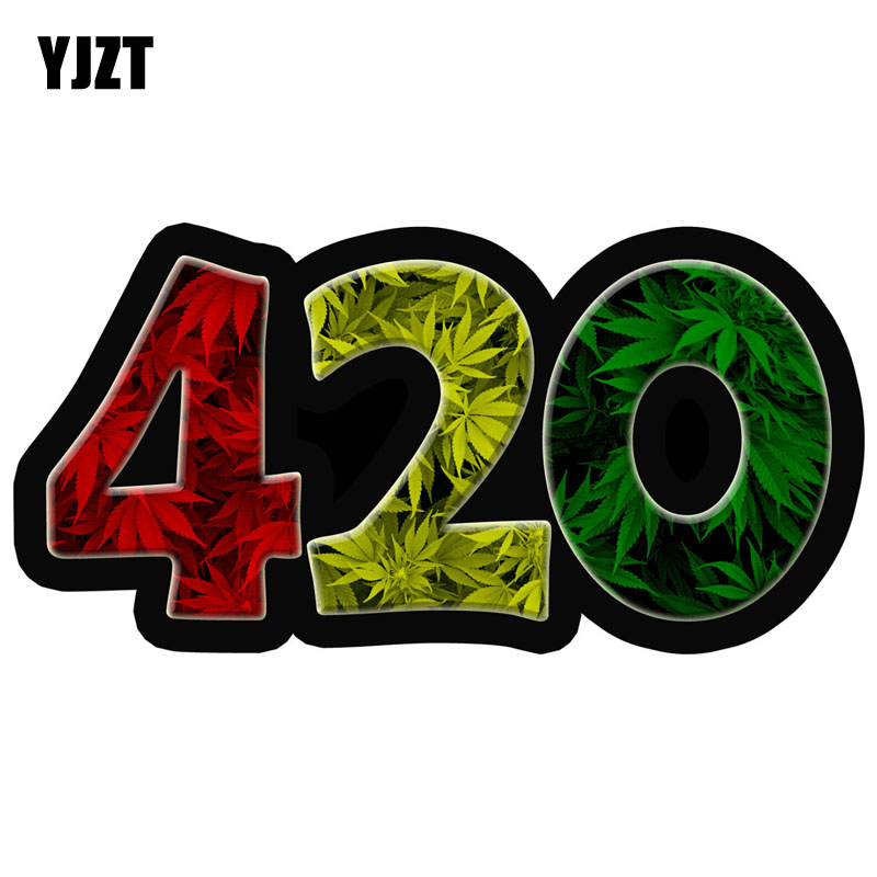 YJZT 13.5CMX6.9CM 420 Weed Leaf Leaves Dank Funny Reflective Car Stickers Motorcycle Decals C1-6074