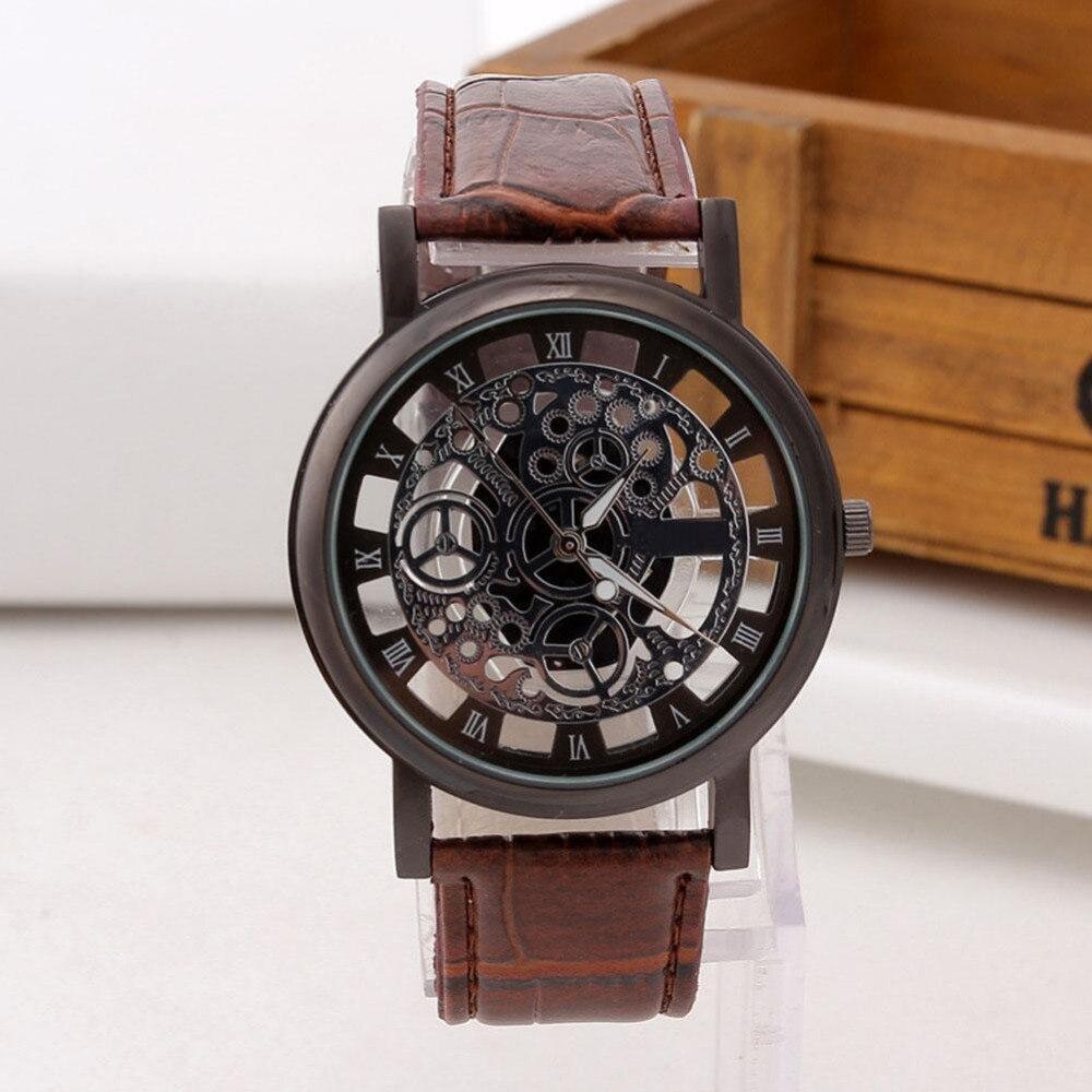 2017 Fashion Business Skeleton Watch Men Engraving Hollow Reloj Hombre Dress Quartz Wristwatch Leather Band Women Clock