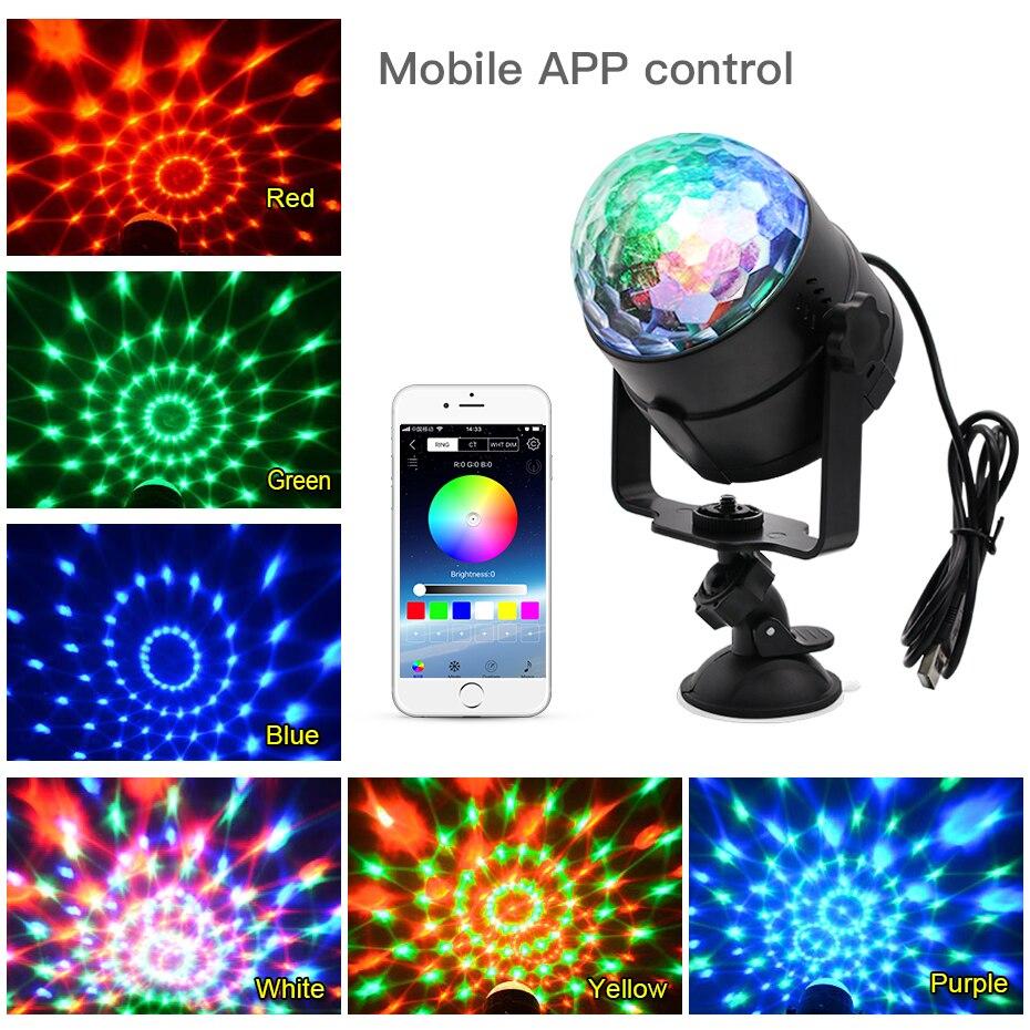 Image 5 - ZHONGJI 5 в RGB светодиодный диско светильник для домашнего звука вечерние s диско лампы для автомобиля USB вращающиеся домашние вечерние украшения DJ диско шар светильник-in Эффект освещения сцены from Лампы и освещение on