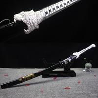 Fantasy Sword Tiger Head Silver Color Japanese Katana 1045 Carbon Steel Decorative Martial Art Black Scabbard with Dragon