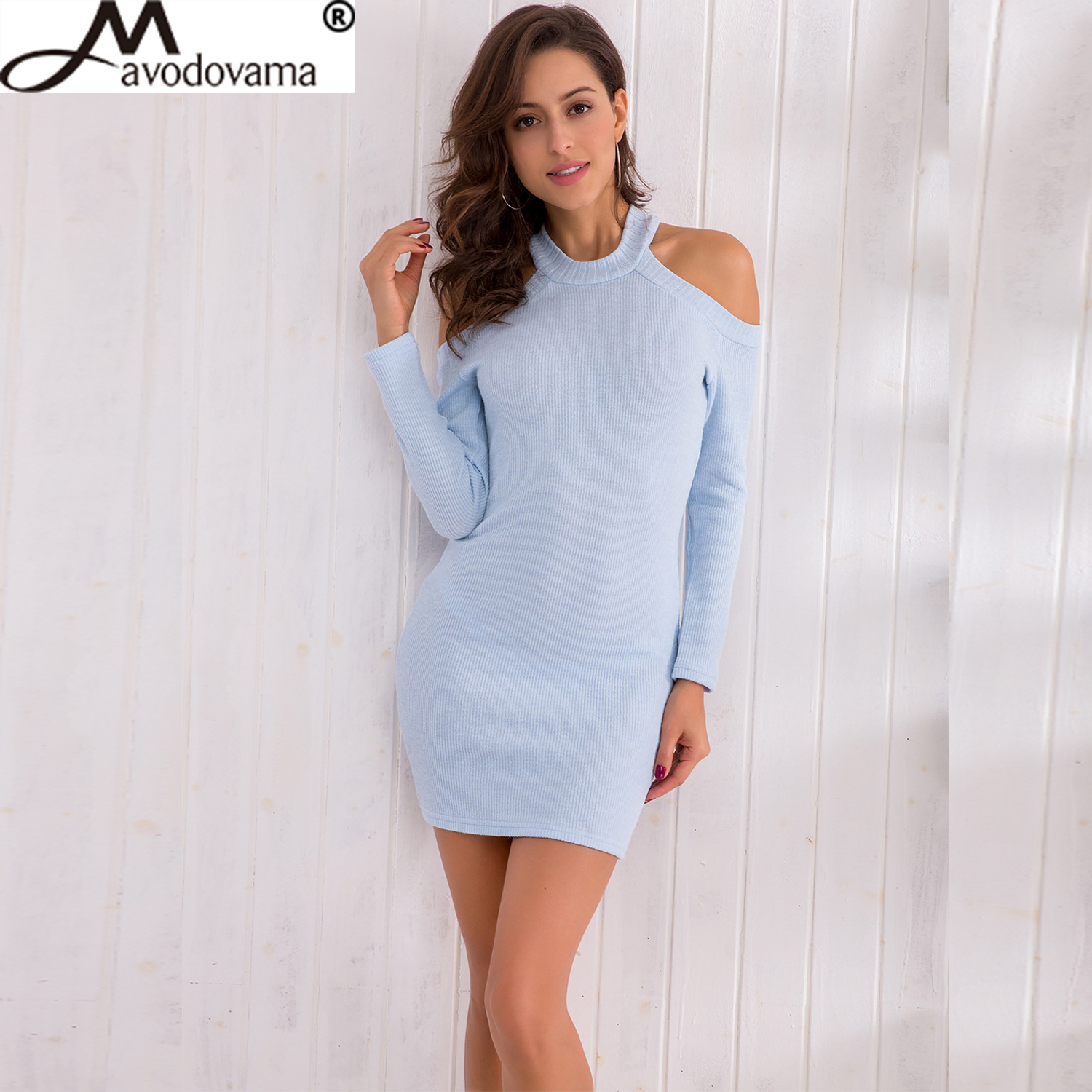 Avodovama M Sexy Halter Off Shoulder Knitted Women Spring Long Sleeve Elegant Party Dress Casual Slim Bodycon Mini Dresses elegant m