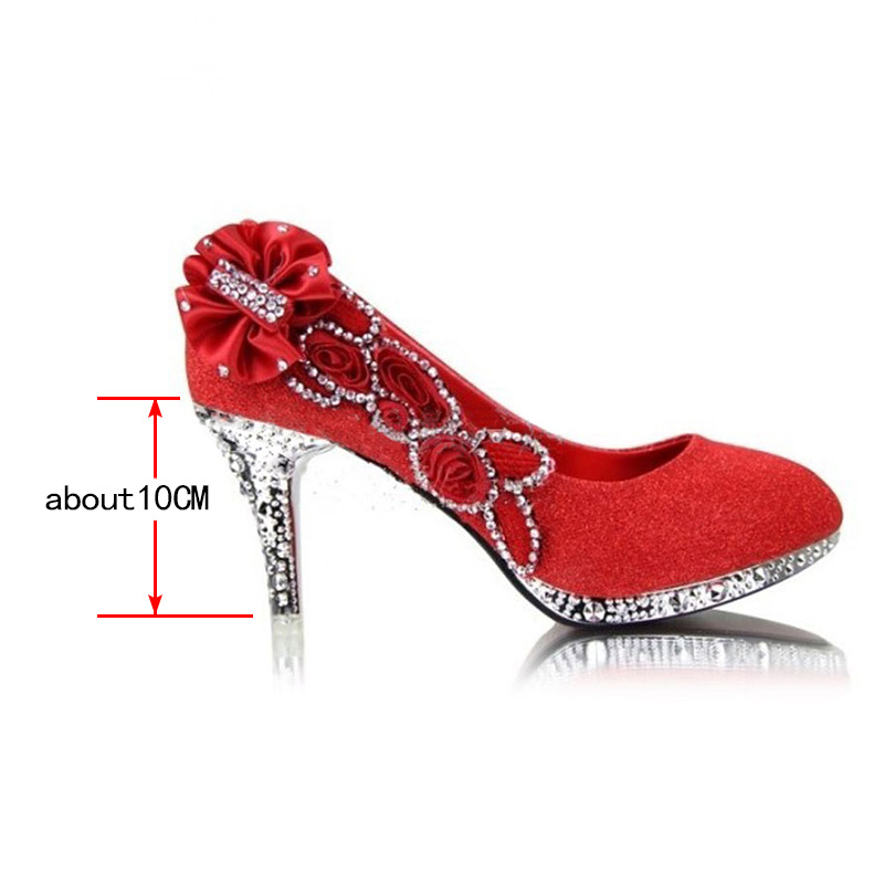 81b425d29c9685 HXRZYZ new bridal shoes size 41 high heels flowers   women gold silver red  diamond wedding shoes bridesmaid shoes on Aliexpress.com