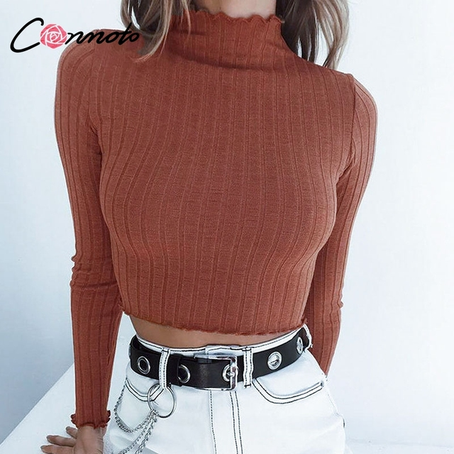 Conmoto Crop Basic Ribbed Turtleneck Sweater Women Pullover Femme Sexy Flounce Sleeve 2019 Autumn Winter Knitted Sweater Jumper