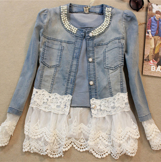 2016 Jeans Jacket mulheres Casacos Feminino Patchwork de renda fina Beading Denim senhora elegante casaco Vintage W243