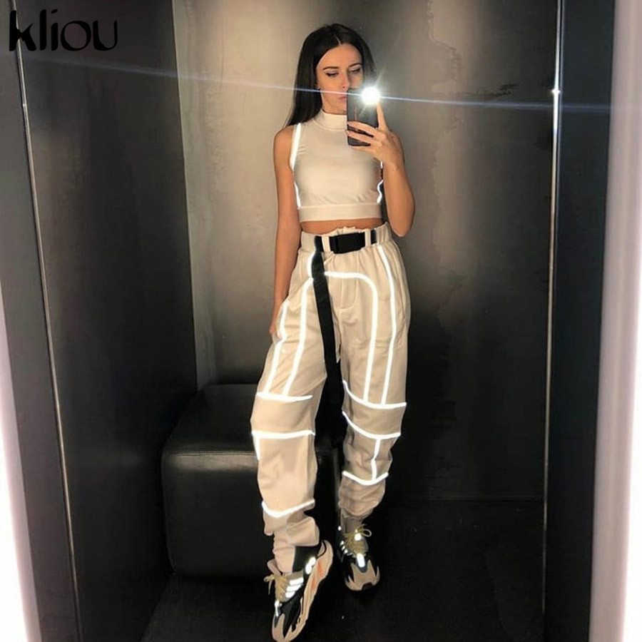 Women fashion street Reflective patchwork cargo pants 2019 new arrival zipper fly with sashes pockets knitted trousers in Pants amp Capris from Women 39 s Clothing