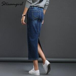 Image 2 - Streamgirl kobiet spódnica Denim długi Saia Jeans damska spódnica Denim spódnice dla kobiet lato rocznika czarny długie spódnice kobiet saia