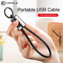 CAFELE 2 in 1 Suitcase Mini Key Ring Micro USB Cable For iPhone X Xr XS MAX 8 7 6s plus 2A Fast Charging 18 CM Cable for Huawei(China)