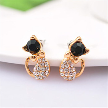 New Fashion Cute Lovely gold Color  Rhinestone Crystal Cat Earrings for Women Kids Crystal Earring Fashion Earrings wholesale 5