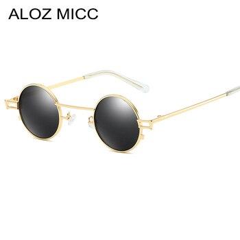 042355ddac ALOZ MICC Punk de moda gafas de sol redondas de hombres, diseñador de  marca, de Metal, pequeño gafas de sol de las mujeres Vintage tonos Unisex  gafas Q532