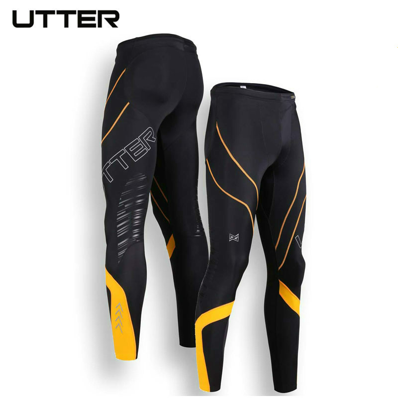 UTTER J6 Men Yellow Printing Compression Pants Sports Running Tights Bodybuilding Jogging Leggings Fitness Gym Clothing 2016 boys running pants soccer trainning basketball sports fitness kids thermal bodybuilding gym compression tights shirt suits page 2