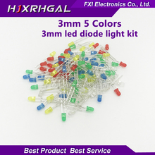100PCS 3mm LED diode Light Assorted Kit 5Colors*20PCS F3 White Yellow Red Green Blue  component DIY kit