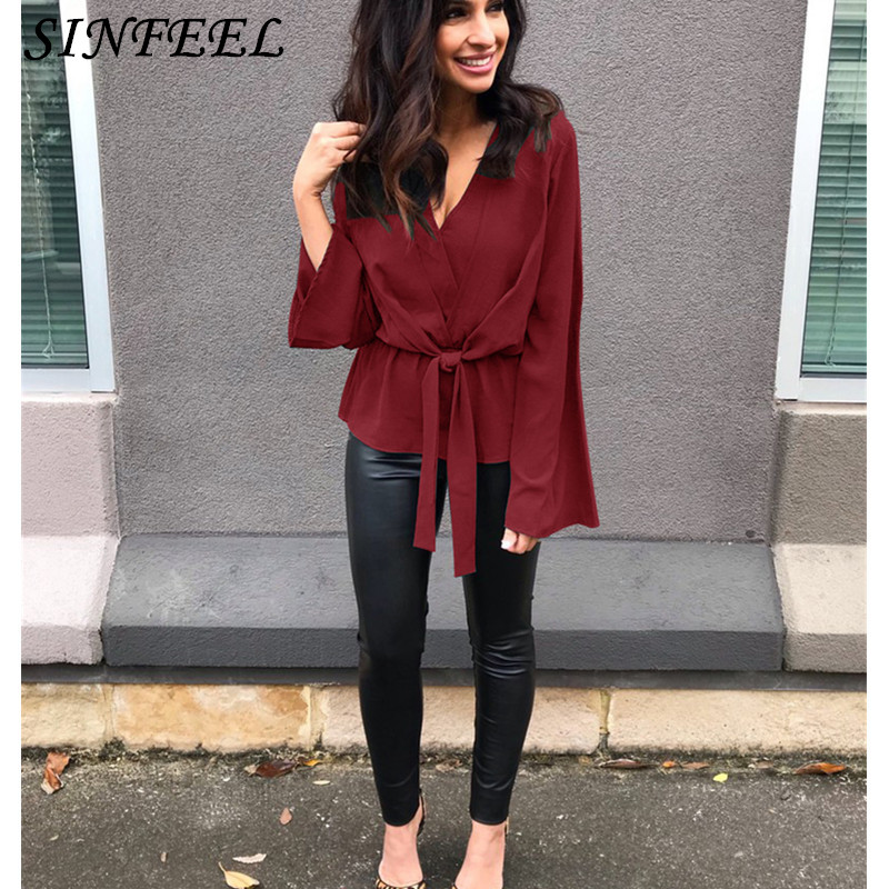 Women Shirts Spring Sexy V-Neck Chiffon Blouse Women Top Camisa Feminina Long Sleeve Ladies Solid Lace Up Blouse Femme Shirt