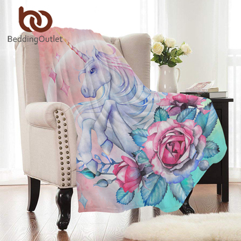 BeddingOutlet Unicorn and Rose Flannel Blanket Floral Coral Fleece Blanket Pink Green Bed Throws Cartoon Warm Sheets for Kids 1