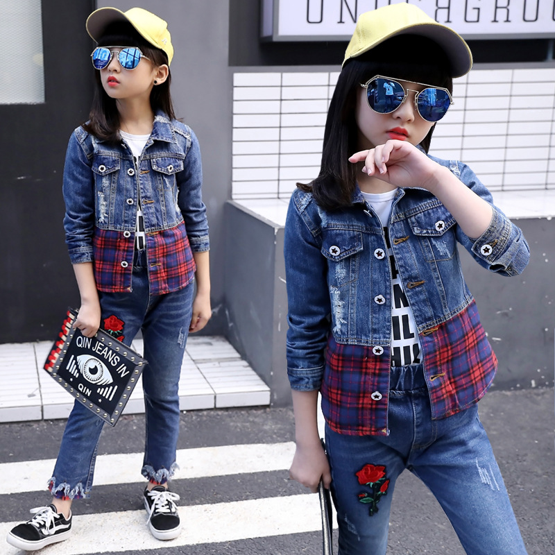 Childrens wear cowboy suits spring and Autumn Festival 2019 new baby girl clothes jean sets plaid denim jacket+jeans body suitChildrens wear cowboy suits spring and Autumn Festival 2019 new baby girl clothes jean sets plaid denim jacket+jeans body suit