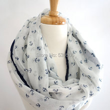c958cf767569 2016 Nuevas mujeres de La Moda de invierno y otoño bufandas Anchor print  bufanda de la gasa bufandas marca tamaño grande mujer m.