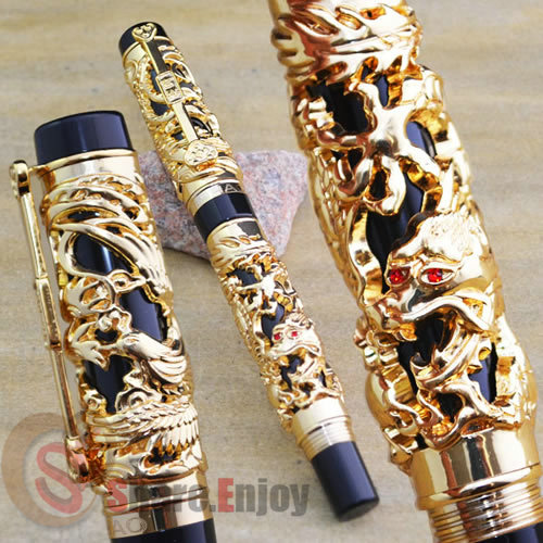 JINHAO NOBLEST GOLDEN ROLLER BALL PEN DRAGON AND PHOENIX CRYSTAL jinhao ancient dragon playing pearl roller ball pen with jewelry on top with original box free shipping