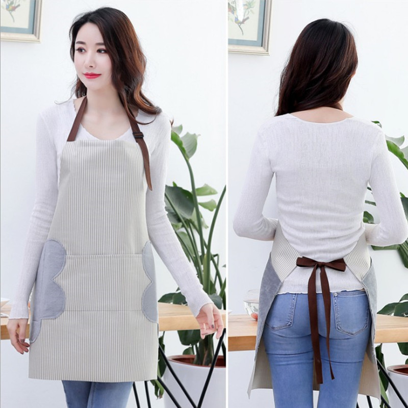 Abrasion Hand Apron Waterproof And Oil Proof Striped Apron Female Chef Adjustable Baking Accessories Commercial Restaurant-in Aprons from Home & Garden