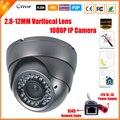 Lente varifocal 2.8-12mm dome vandalproof ip câmera ao ar livre indoor p2p onvif 2.0mp 1080 p sony imx322 ios android câmera de cftv ip