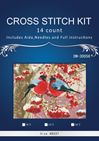 YZ 7156 14CT Top Quality Lovely Cute Counted Cross Stitch Kit Winter Robin Robins And Cherry