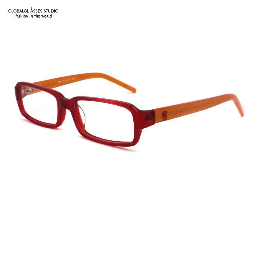 2a5d3f8fc8508 Bonito Lente Retângulo Crianças Armação de Acetato Templo Laranja Cristal  Vermelho Menina Dos Desenhos Animados Padrão Crianças Miopia Óculos Ópticos  WK95 ...