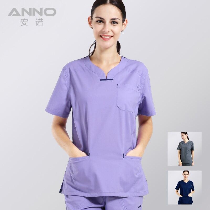 ANNO Лето Женская одежда медицинские скрабы медсестра равномерной стоматологическая клиника и салон красоты дизайна моды slim fit
