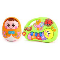Baby Rattles Nodding Matlyoshka Tumbler Doll Learning Stories Toy Musical Instrument For Toddler 6 Month