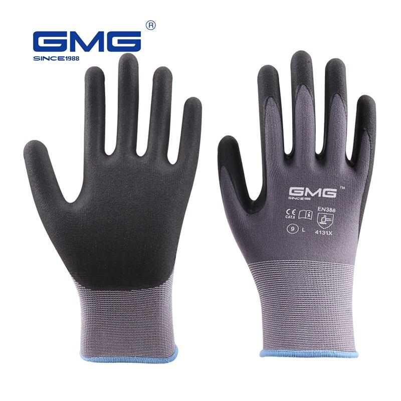Hot Sale 2018 GMG Nylon Spandex CE Certificated EN388 Microfine Foam Gloves Nitrile Safety Working Gloves Men