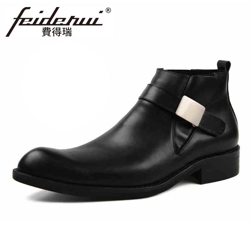 High Quality Genuine Leather Men's Martin Ankle Boots Italian Style Pointed Toe Handmade Cowboy Riding Man High-Top Shoes YMX294 high quality genuine cow leather men s high top chelsea ankle boots round toe handmade cowboy riding man platform shoes ymx15
