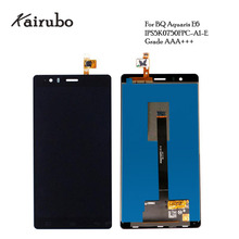 2PCS/LOT 100% Tested LCD For BQ Aquaris E6 LCD Display with Touch Screen Digitizer assembly black color free shipping+tracking