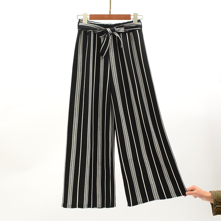 2019 Women Pants Summer New Striped High Waist Loose Pants Striped Straight Nine Pants Women 23
