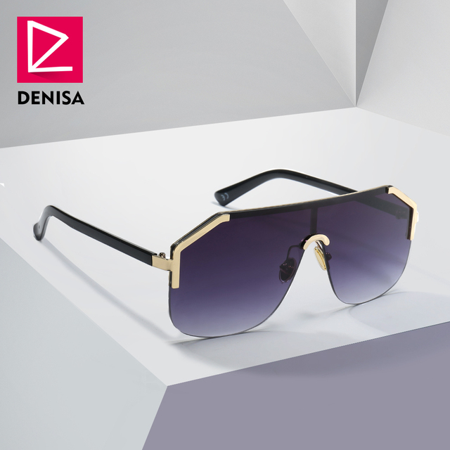5be103be0a6 DENISA Blue Oversized Rimless Sun Glasses Men New 2019 One Piece Lens  Shield Sunglasses Ladies UV400