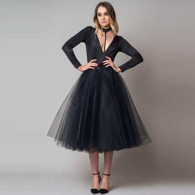 e71defb69d9 Fashion Black Tea Length Tulle Skirts Women Zipper Style A-line Puffy Tutu  Skirt Faldas Saias Custom Made Female Bottom Cheap