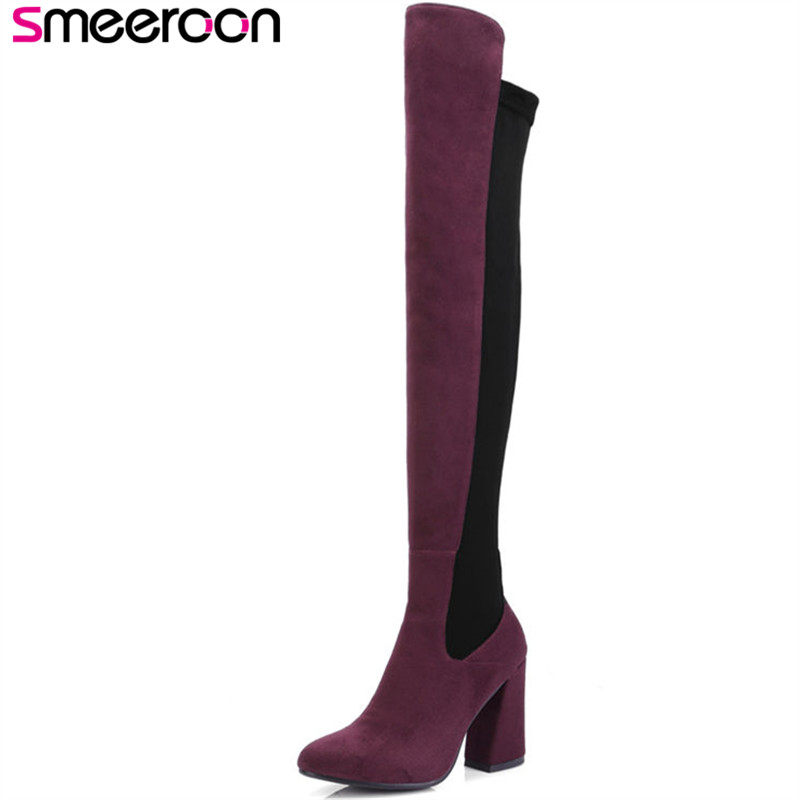 Smeeroon new popular flock women boots over the knee boots zip super high heels pointed toe autumn winter boots big size 34-43Smeeroon new popular flock women boots over the knee boots zip super high heels pointed toe autumn winter boots big size 34-43