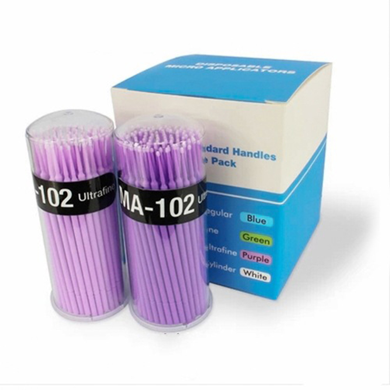 100pcs Professional Lint Free Micro Brushes Eyelash Extension Tools Disposable False Eyelash Micro Brush Swab Applicators Brush