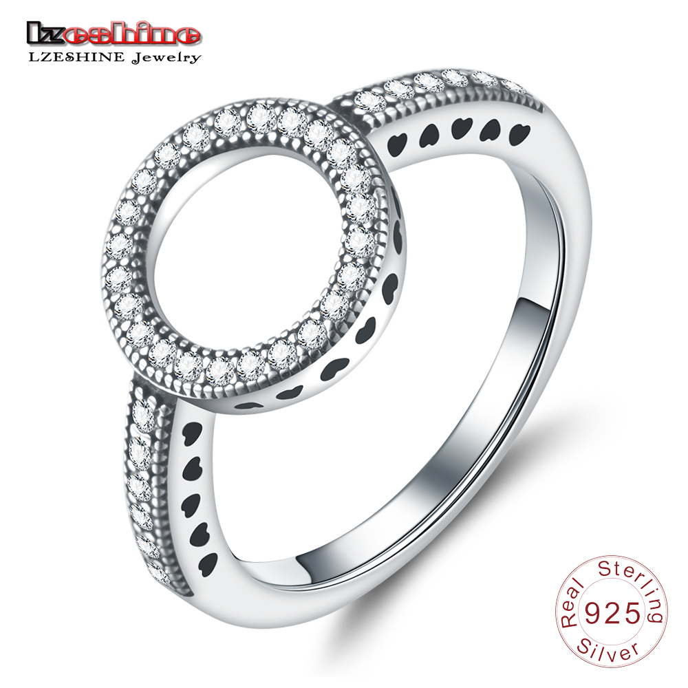 LZESHINE 100% Genuine 925 Sterling Silver Ring Forever Love Clear CZ Circle Round Finger Rings For Women Luxury Jewelry bijoux недорого