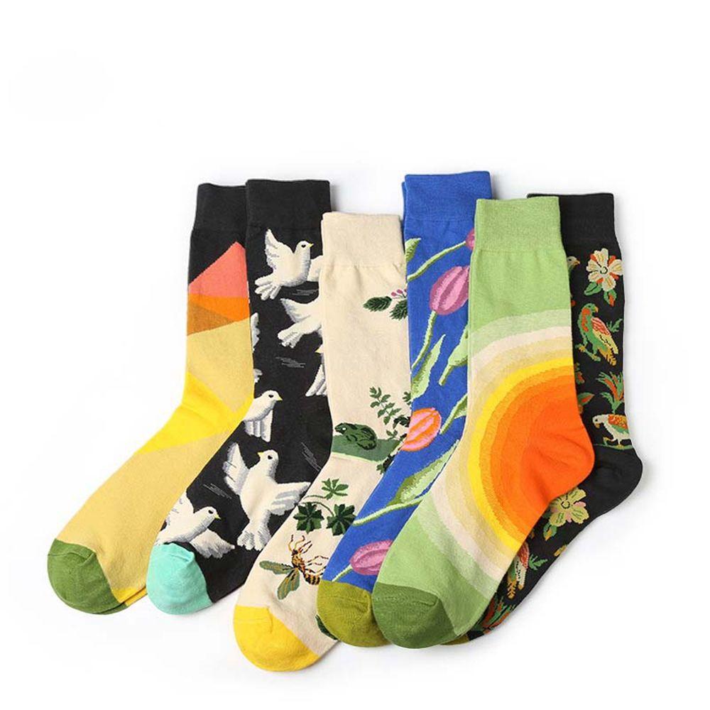 1 Paar Bunte Beliebte Frauen Männer Strumpfwaren Cartoon Anlage Stil Baumwolle Socken Neuheit Lustige Muster Unisex Skateboard Socke