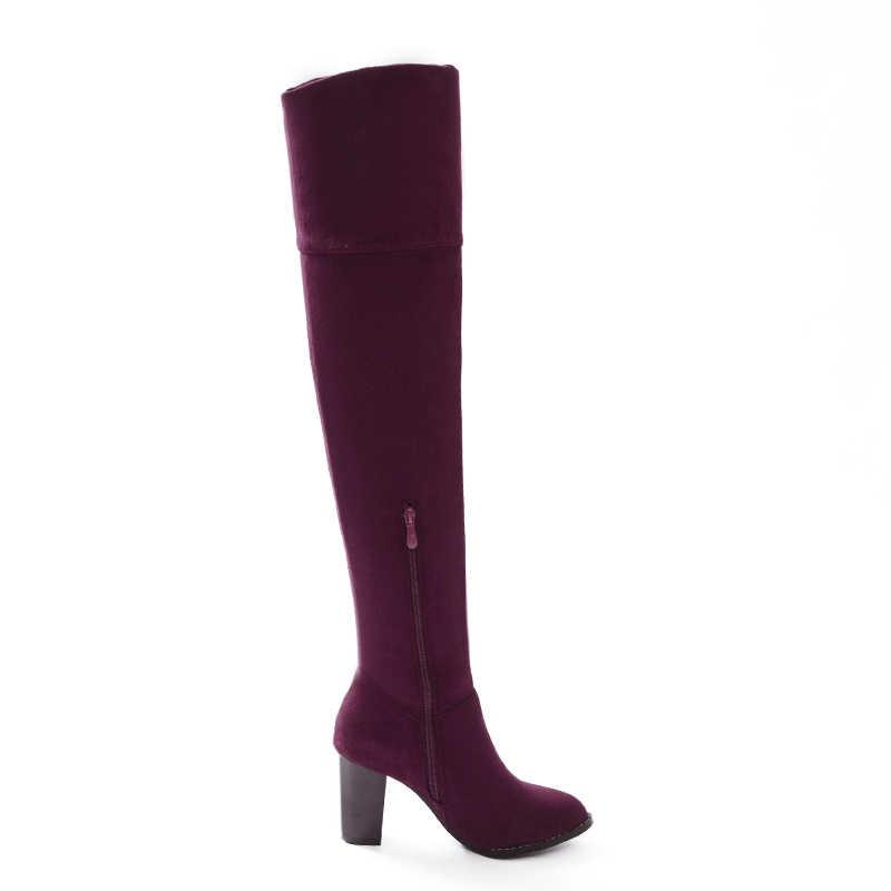 Über das Knie Stiefel Frauen Floock Sqaure High Heel Stretch Stiefel Zipper Herbst Winter Stiefel Damen Schuhe Blau Wein Rot schwarz