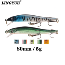 Купить с кэшбэком LINGYUE 1PCS 8cm/5g Minnow Fishing Lure Hard Bait Tight Wobblers 3D Eyes Crankbaits Floating Trolling Tool Artificial Pesca