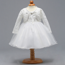 Retail Elegant Lace Floral Little Baby Wedding Dress With Pearl Long Sleeves Coat Baby Girl First Communion Dress BBTZ007