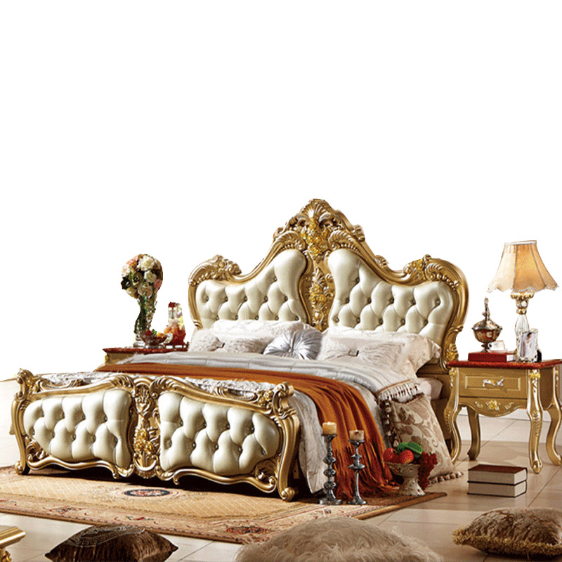 Luxury Bed French Bed New High End Champagne Gold Double King Size Bed 1 8 M Princess Beds In