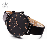 Shengke Women Watches Causal Women Leather Watch Mixmatch Ladies Watch Black Leather Strap Wristwatch 4 Colors